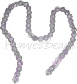 00688 Glaskraal crackle 2-kleurig streng (±40cm) Lila/transparant 8mm; gat 1,5mm 1 streng