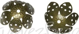 00179 Kralenkap filigraan Antiek brons (Nikkelvrij) 23mmx11mm; gat 2mm 12 stuks