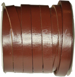 LK-10003 Lederschnur plat Red coffee 10mmx2,5mm 1 meter