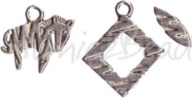 00034 Kapittelslot 3-delig tijger Antiek zilver