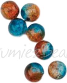 04207 Crackle kraal rond Oranje-blauw 8mm; gat 1mm ±20 stuks