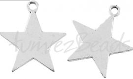 02973 Bedel tekst blanco ster Antiek zilver (Nickel vrij)