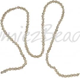 03991 Glaskraal imitatie swarovski Bicone streng ±40cm Silver Champagne 4mm  1 streng