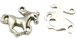 04446 Bedel Paard Antiek zilver (Nikkelvrij) 15mmx20mmx2,5mm; gat 2mm 4 stuks
