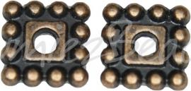 03756 Spacer daisy vierkant Antiek koper (Nikkelvrij) 7mmx7mmx2mm; gat 2mm 12 stuks