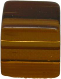 01846 Glaskraal kubus Bruin 8mm 1 streng (±30cm)