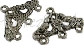 00101 Tussenstuk chique Antiek zilver (Nickel vrij) 7 stuks
