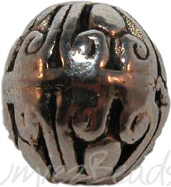 00869 Metaalkraal bali ovaal Antiek zilver