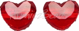 00864 Acryl kraal rond hart Rood 18mmx16mm 7 stuks