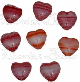 01705 Tsjechische glaskraal Oranje/rood-wit 14mmx16mmx5mm 8 stuks