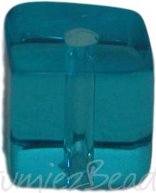 00947 Glaskraal vierkant Lichtblauw 6mm 1 streng (±30cm)