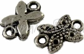 00225 Tussenstuk vlinder Antiek zilver (Nickel vrij) 11mmx7mm 12 stuks