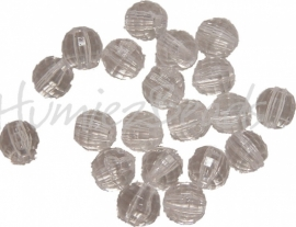 01203 Acryl kraal rond Facet Transparant 7,5mm 20 stuks