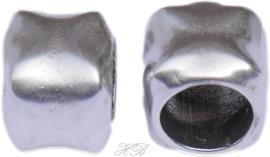 01028 Leerschuiver  Metaalkleurig DQ 12x14mm; gat 9mm 1 stuks