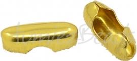 03707 Metaal klemmetje voor 2mm bolketting Goudkleurig 9mmx3mm 12 stuks