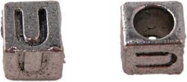 01173 Vierkante letterkraal U TAntiek zilver