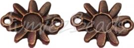 00505 Tussenstuk bloem Antiek brons 15mmx13mm 11 stuks