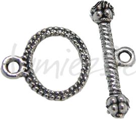 00346 Knebelverschluss knevel Antiksilber (Nickelfrei) 12mmx10mm 11 stück