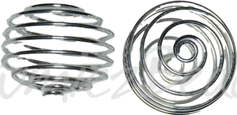 02112 Metaalkraal spiraal Zilverkleurig (Nickel vrij) 17mmx19mm 3 stuks