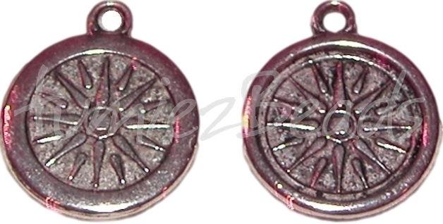 02123 Hanger rond zon Antiek zilver (Nikkelvrij) 26mmx22mm