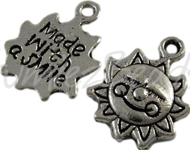 00303 Bedel zon made with a smile Antiek zilver (Nikkel vrij) 7 stuks