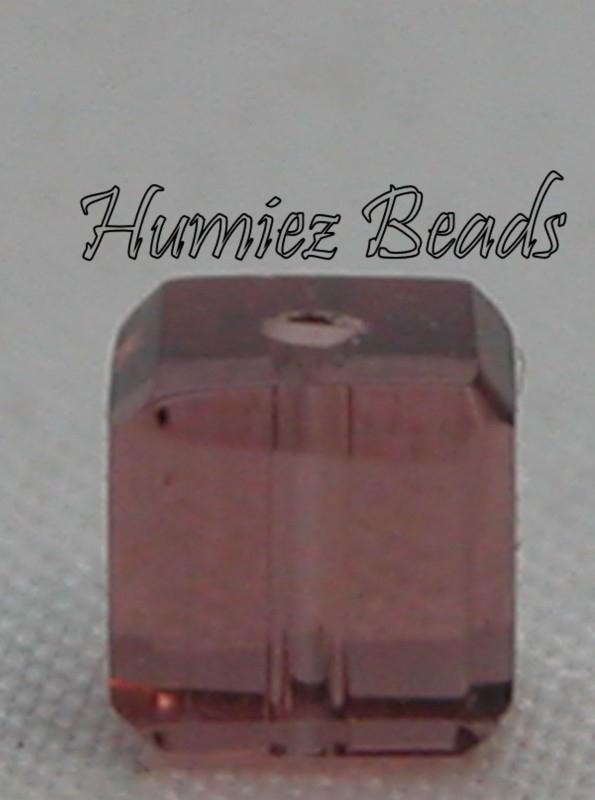 02791 Glaskraal vierkant facet geslepen Bruin 4mm 20 stuks