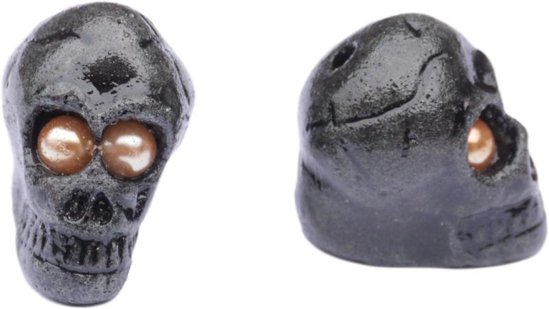 00831 Klei kralen Doodshoofd/doodskop Zwart 25x28x20mm; gat 2mm 1 stuks