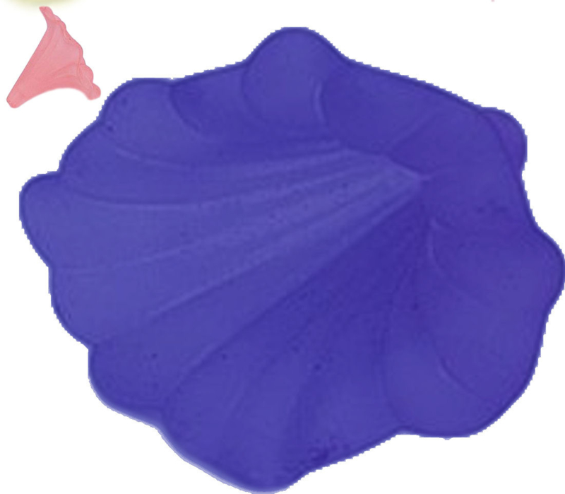 04516 Acrylkraal Lelie Donker blauw 41mmx35mm; gat 3mm 2 stuks