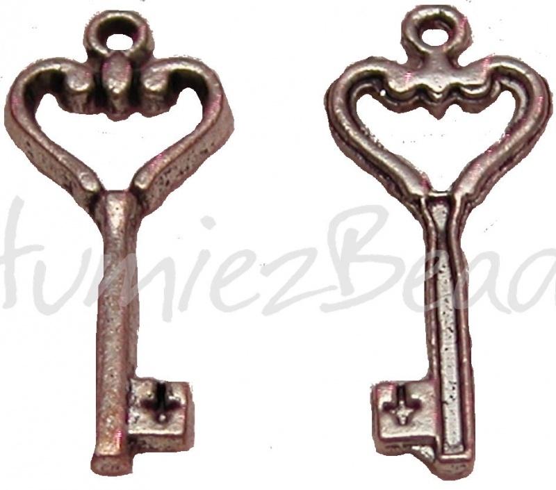03075 Bedel sleutel hartje Tibetaans zilver 26mmx11mm