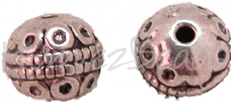 02905 Metalenkraal rondjes Antiek zilver (Nikkelvrij) 7,5mmx8,5mm 5 stuks