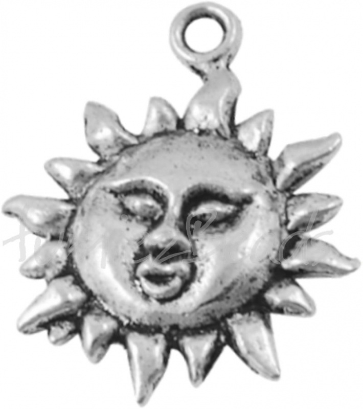 02975 Bedel zon Antiek zilver (Nikkelvrij) 23mmx19mm 6 stuks