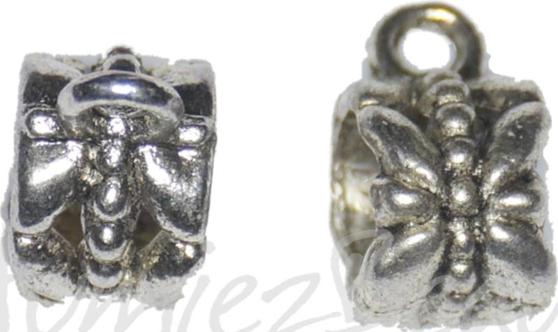 02780 Metalen kraal Libelle met oog Antiek zilver 6,5mmx11,5mmx8mm; gat 5,4mm; gat oog 1,2mm 5 stuks