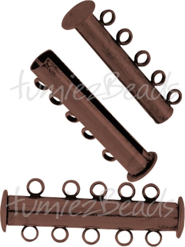 03819 Magneetschuifslot 5-rings Koperkleurig 30mmx10mm 1 stuks