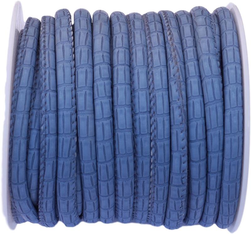 LK-6013 Imitatieleer gestikt  Blauw 6mm 1 meter