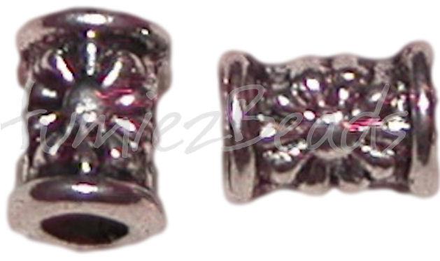 02190 Spacer Tube bloem Antiek zilver  6,5mmx4mm; gat 2,5mm 11 stuks