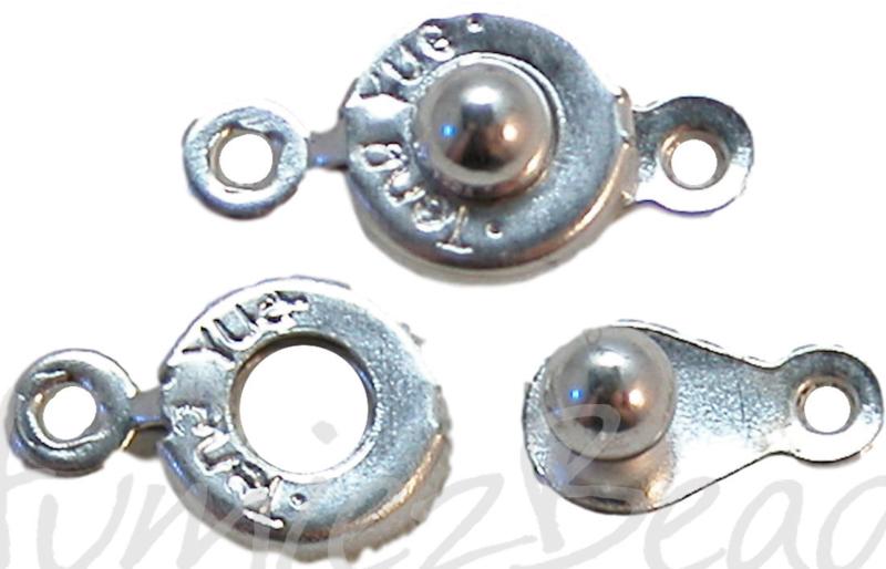 01477 Drukslotje balletje Zilverkleurig 14mmx7mm 6 stuks