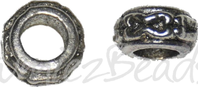01965 Metalen kraal ring met groot gat Antiek zilver 3,6mmx7,1mm; gat 3,5mm 10 stuks