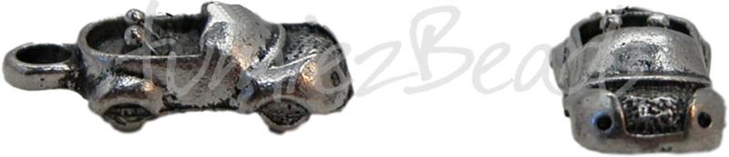 00026 Bedel auto Antiek zilver (Nikkel vrij) 19mmx8mmx6mm 5 stuks