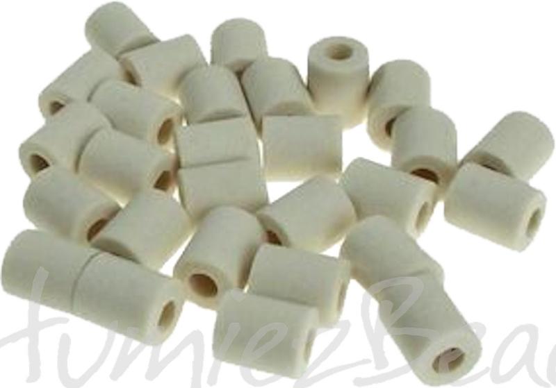 00442 Keramische kralen / pijpjes anti teek 15 stuks