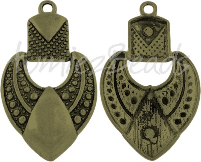 02516 Hanger chique hart Antiek brons (Nickel vrij) 69mmx40mmx9mm 1 stuks