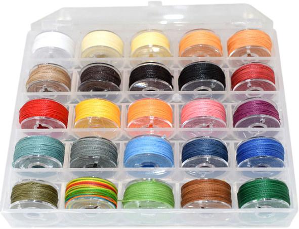 WP-0451 Waxkoord Polyester box 25 kleuren mixed kleuren 0,45mm 1 box