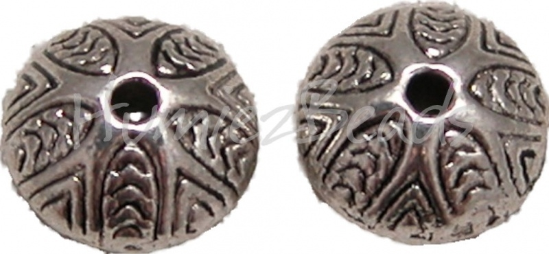 01198 Metaalkraal blad Antiek zilver (Nickel vrij) 6mmx9mm 7 stuks