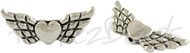 01316 Spacer vleugel Antiek zilver (Nikkel vrij) 9mmx22mmx3mm; gat 1mm 7 stuks