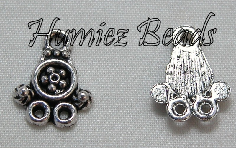 02300 Verdeler 1-2 bloem Antiek zilver (nikkelvrij) 15mmx12mm 11 stuks