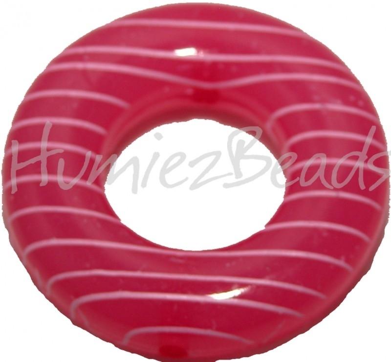 01974 Kralenframe donut Roze 39mmx9mm; binnenring 17mm 3 stuks