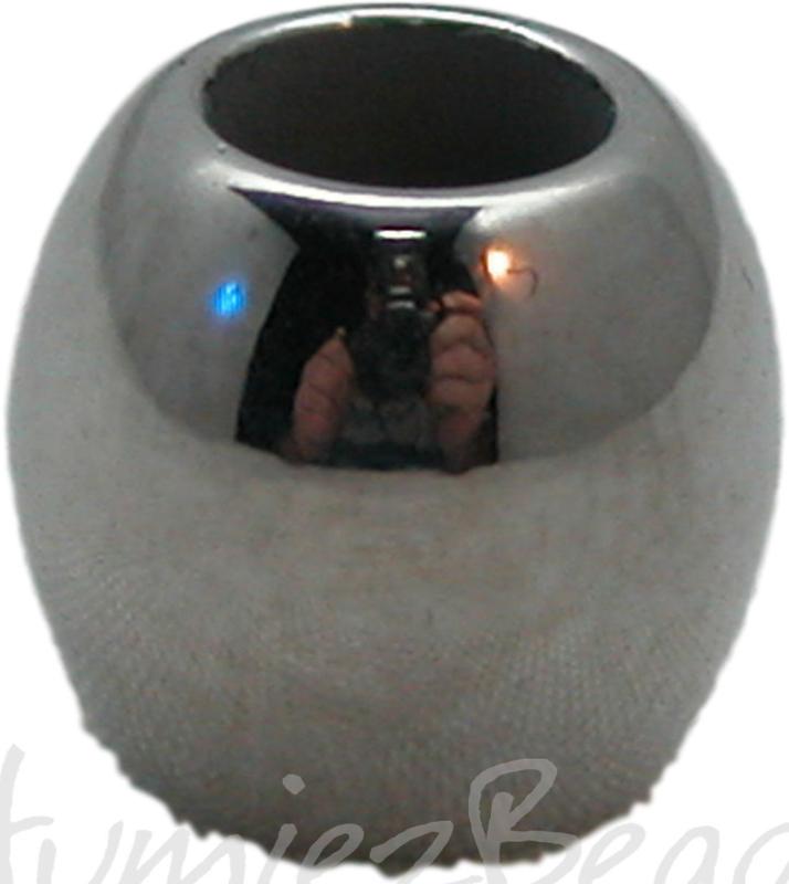 01924 Metallook kraal glad Antiek zilver 8mmx10mm;Gat 5mm 11 stuks