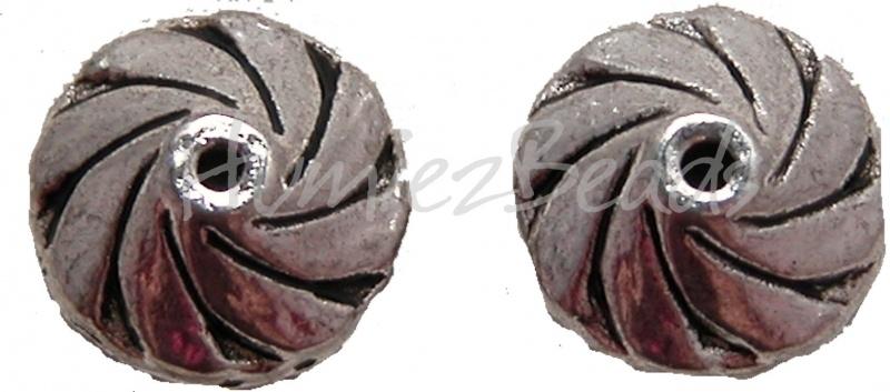02104 Metalen kraal windmolen Antiek zilver (Nickel vrij) 7mmx11mm 5 stuks