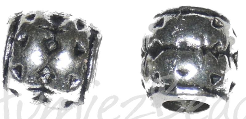 02492 Metalen kraal Banden groot gat Antiek zilver 7,8mmx8mm; gat 3,6mm 10 stuks