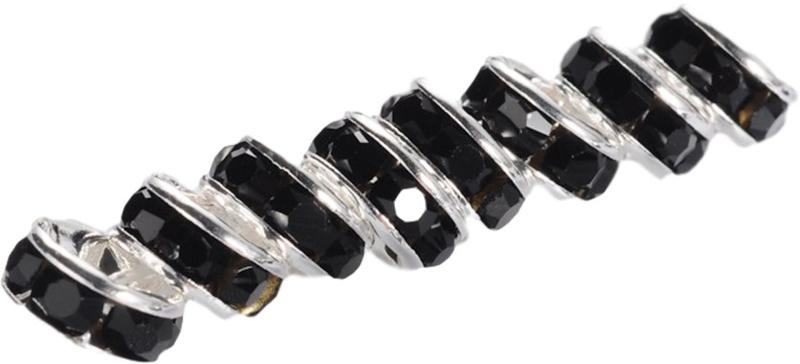 04395 Spacer rondel Rhinestone Zilverkleurig (Nikkel vrij)/ Jet 7 stuks