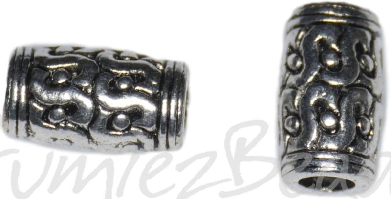 00449 Metalen kraal bedrukt groot gat Antiek zilver 12,5mmx6,5mm; gat 3,5mm 5 stuks